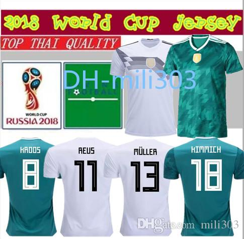 2aaf6db8f 2019 Top Quality 18 19 Germany Soccer Jerseys 18 19 MULLER OZIL KROOS REUS  Kimmich Draxler Home White Green AWAY Football Jersey Shirt From Mili303