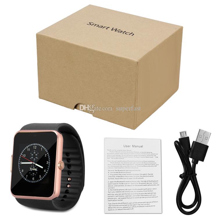 GT08 Smart Uhr Bluetooth Smartwatches für Android Smartphones SIM Kartensteckplatz NFC Gesundheit Uhren für Android mit Kleinkasten