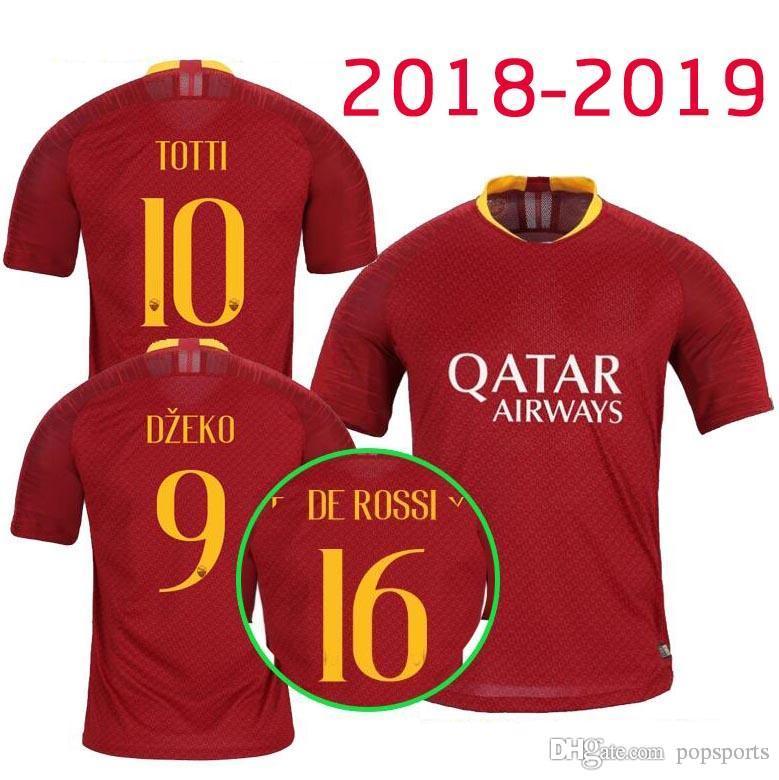 Calidad Tailandesa 2018 2019 Casa Camiseta De Fútbol Roma TOTTI Especial DE  ROSSI DZEKO EL SHAARAWY Camiseta De Fútbol Para Hombre Qatar Airways ... fcef997ed29
