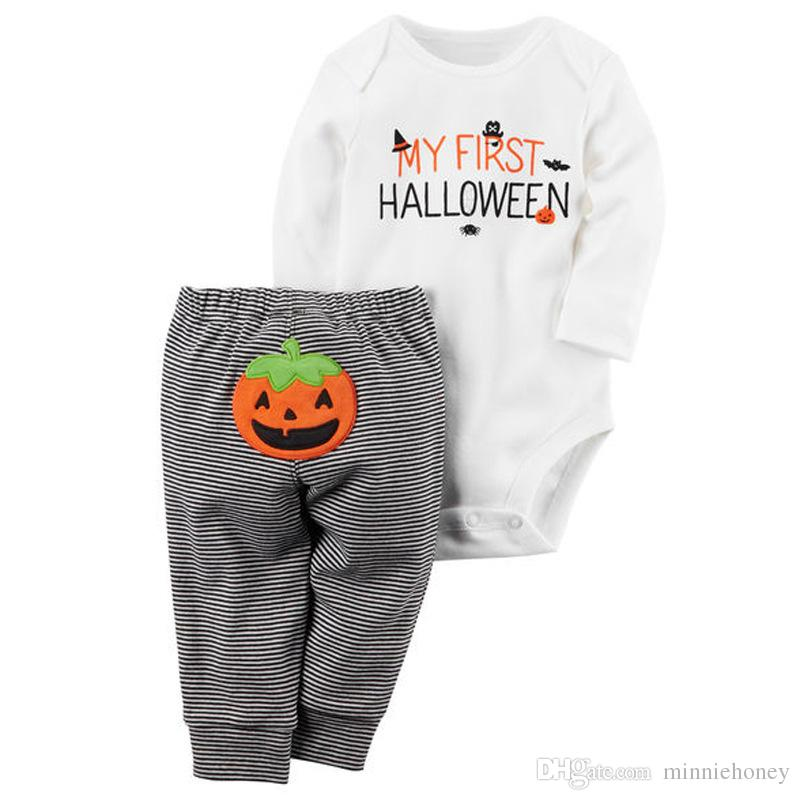 2fe01c8d6 2019 2018 Baby Halloween Costume Clothes Letter Halloween Long Sleeve  Clothes Romper Pants Outfits All Saints' Day Clothing Sets From  Minniehoney, ...