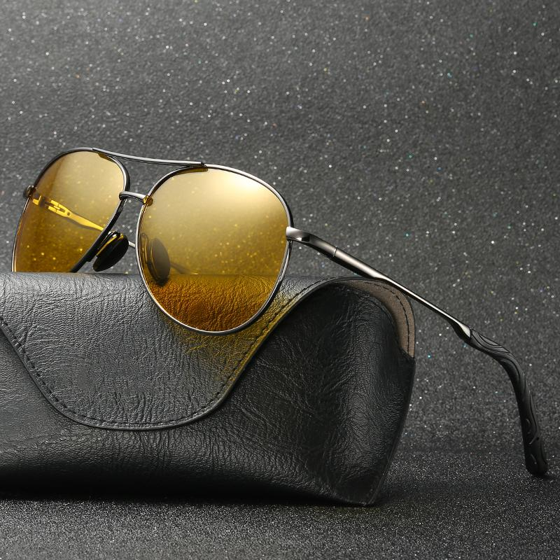 77542ea3e6 Compre HD Gafas De Visión Nocturna De Los Hombres Gafas De Sol Polarizadas  Espejo Gafas De Sol De Aviador Mujeres Lente Amarilla Conducción Segura  Gafas De ...