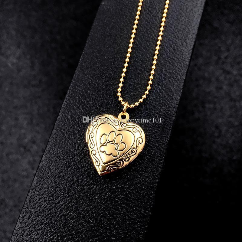 Cadre Photo Mémoire Médaillon Pendentif Collier Argent / Or Couleur Romantique Amour Coeur Mignon Empreinte De Patte Bijoux Femmes Cadeau