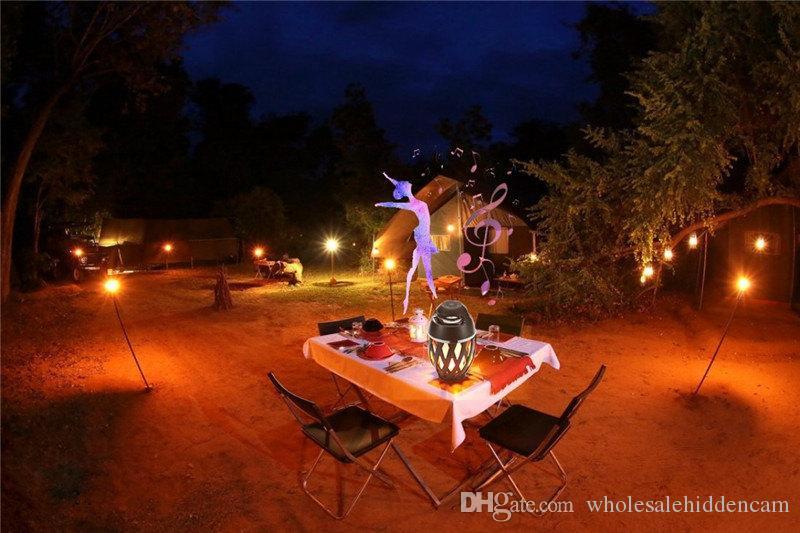 Llama LED Lámpara de mesa Altavoz Bluetooth Altavoz portátil exterior Bluetooth Antorcha Atmósfera Luz Carga USB Luz cálida de baile amarilla
