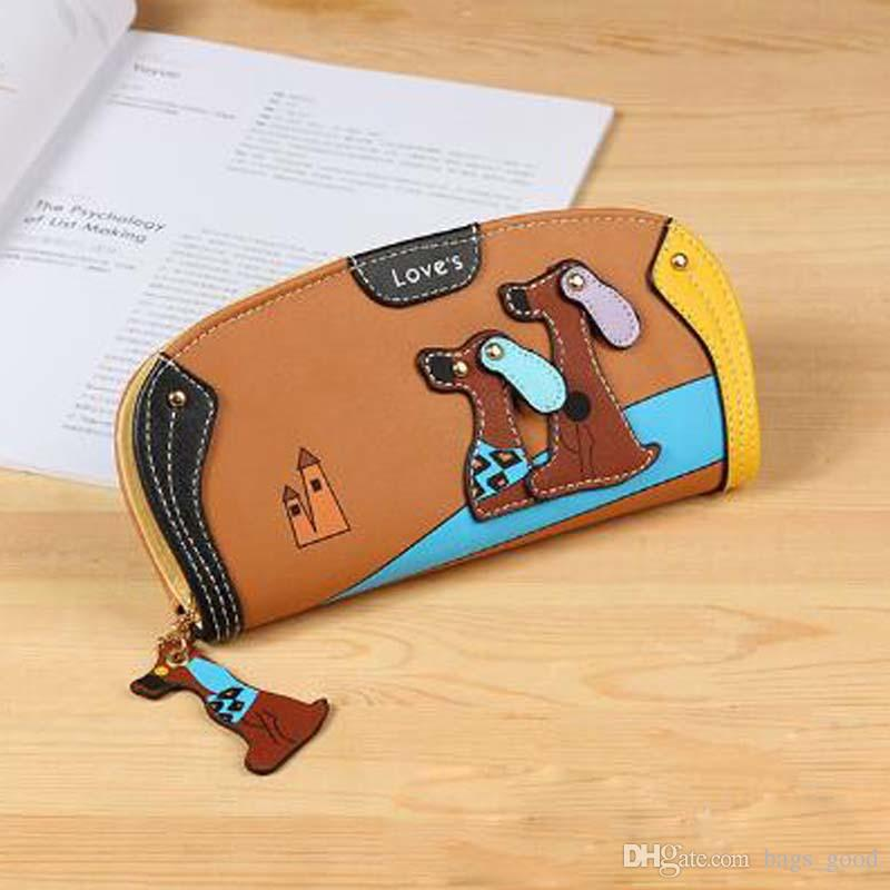 Fashion Cute Long Wallet Women PU Leather Cartoon Dog Wallets Lady Clutch Puppy Zipper Card Holder Female Change Purses