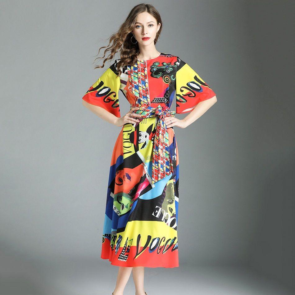 Summer Midi Dress High Quality 2018 Designer Runway Dresses For Women Short  Sleeve Popular Carton Print Bow Tie Waist Long Dresses UK 2019 From  Wtx3496 192e6e42319e