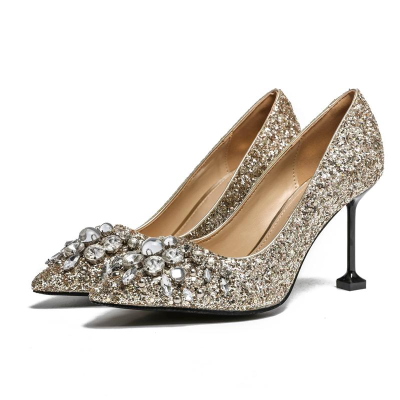 2018 Sexy Pumps Sli On Female Dress Shoe Bling Bling Crystal Decor Silver  Woman High Heel Pointed Toe Luxury Wedding Party Shoes Mens Boat Shoes  Loafers For ... 79347640f2a0