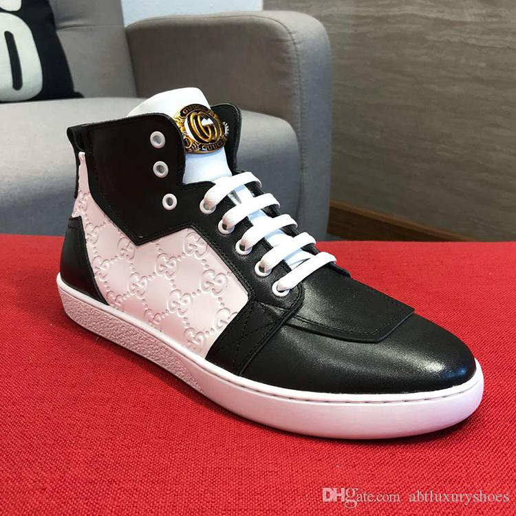 Compre Zapatos Para Hombre Zapatillas De Deporte De Moda De Hip Hop De  Invierno Italia Transpirable Con Cordones Zapatos De Cuero Deportivo Con  Caja ... ff702c1ae99