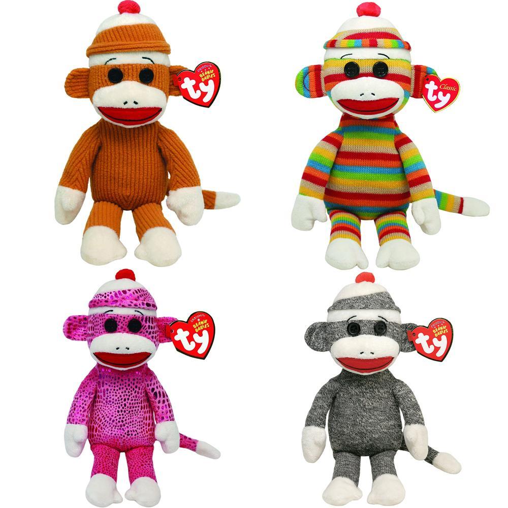 2019 Pyoopeo Ty Beanie Babies 6 15cm Sock Monkey Set Stripes Tan Gray Pink  Sparkle Plush Regular Stuffed Animal Collectible Doll Toy From Yohkoh 1c62d7bf01c