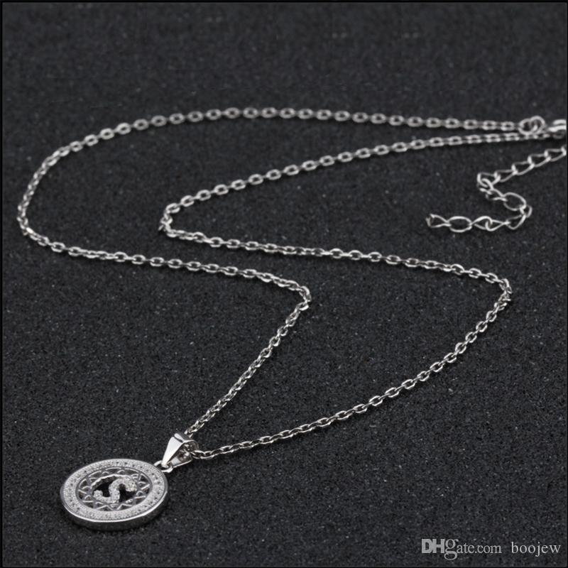 2018 Fashion Shimering Jewelry Silver CZ Clavicle Chain Charm Letter S Pendant Necklace