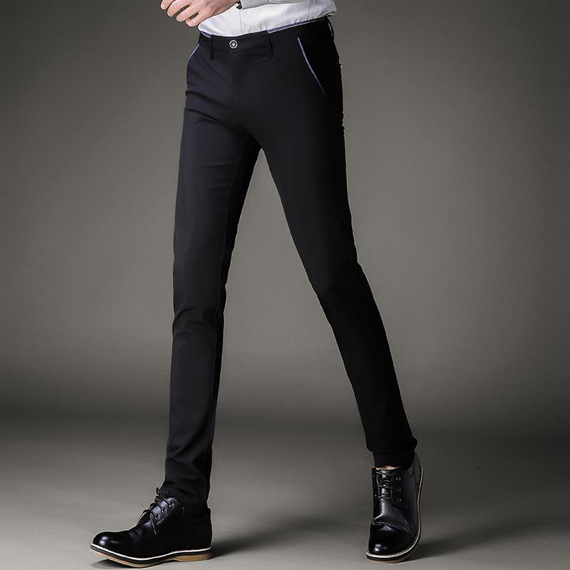8a3f58635ae8 2019 Mens Black Dress Pants Formal Pants Slim Fit Wedding Men Black Suit  Business Office Casual Summer Mens Dress Trousers From Sadlyric