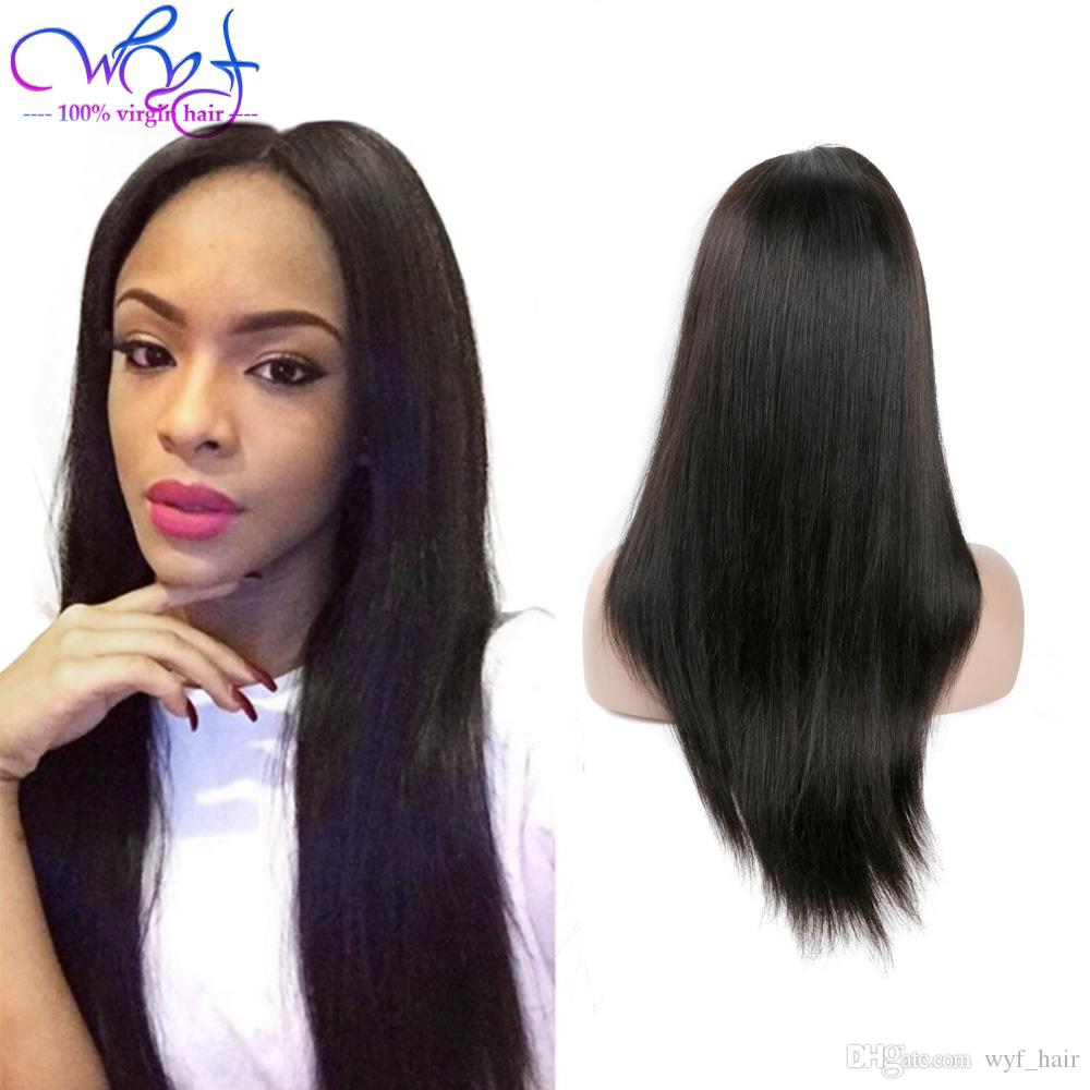 Hot Selling Straight Human Hair Lace Front Wigs For Black Women 100%  Unprocessed Virgin Hair Pre Plucked With Baby Hair Natural Color Hand Tied  Wigs Sexy ... af0018d2d3