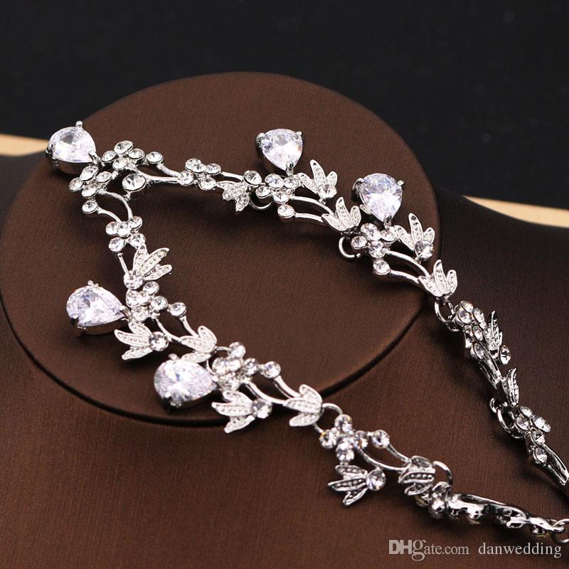 Beauté 2 Pièce Collier Boucles D'oreilles De Mariage De Mariée Bijoux De Mariage Collier J612002