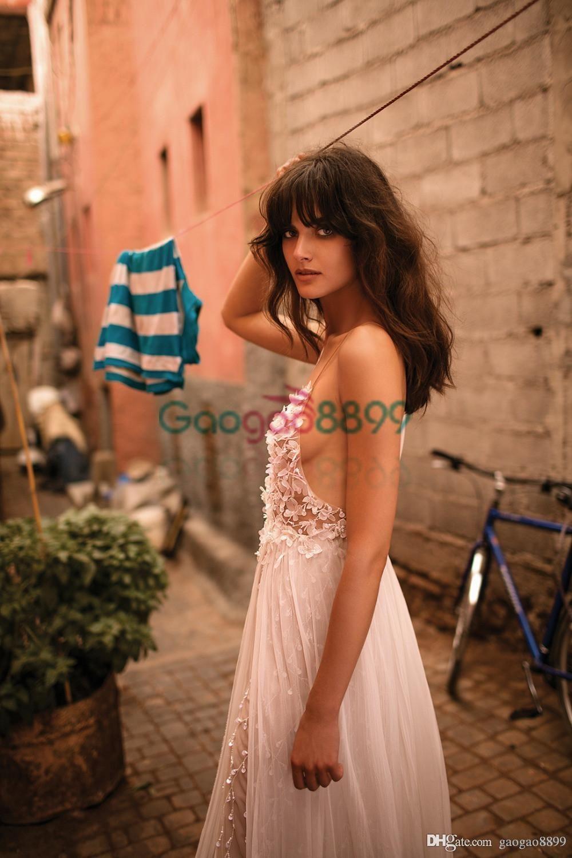 2019 Liz Martinez Sexy Boho Abiti da sposa economici Abiti da sposa Scollo a V See-Through Chiffon Fiore Perle A-Line Vestido de Noiva Praia