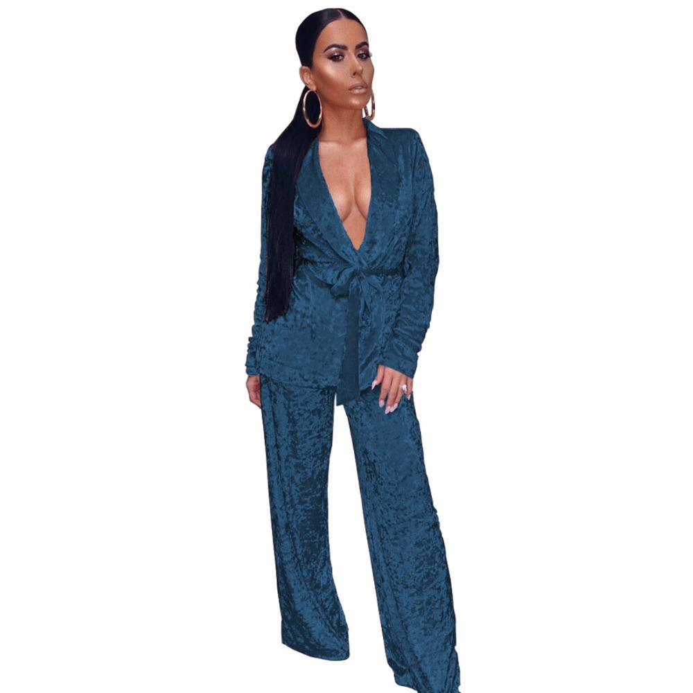 Fashion Two Pieces Women Sexy Pajamas Set Autumn Spring Velvet Robe Sling  Homewear Bandage Long Sleeved Pants Women Sleepwear UK 2019 From  Ferdinand07 f1cde481e91