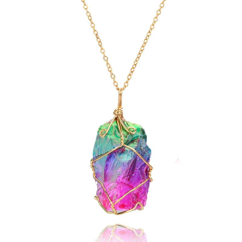 Party Jewelry Gif Colorful Stone Pendant Necklace Crystal Pendant  Transparent Woman Kids Fashion Baby Jewelry Multicolor Chain Necklace 1942  Babies Earrings ... 3a6727388637