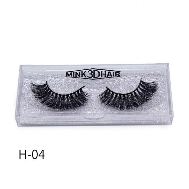 12 Styles Glitter Box Mink Hair False Eyelashes Handmade Black Band Cross Tapered Women Lady Eye Lashes Makeup