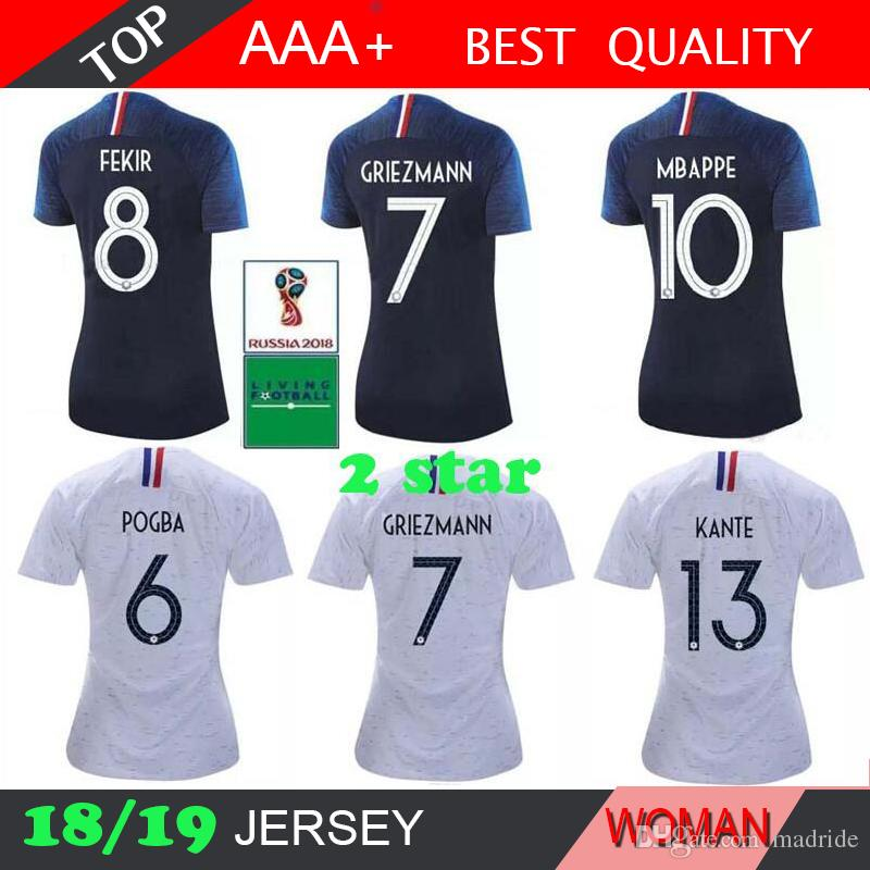 2019 2 Stars Mbappe 2018 Women Soccer Jerseys POGBA GRIEZMANN PAYET KANTE  Football T Shirts 18 19 Home Away SHIRT From Madride 4979f2be6