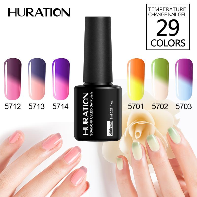 Huration 8ml Mood Temperature Changing Nail Gel Polish Soak UV Gel Varnish 29 Color Change Thermal Nail Lacquer Manicure Art