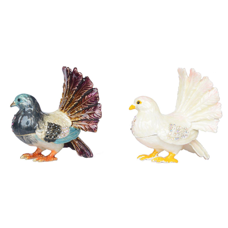 Pigeon Trinket Box Metal Craft Enameled Bird Figurine Collectible Wedding Jewelry Ring Holder Organizer