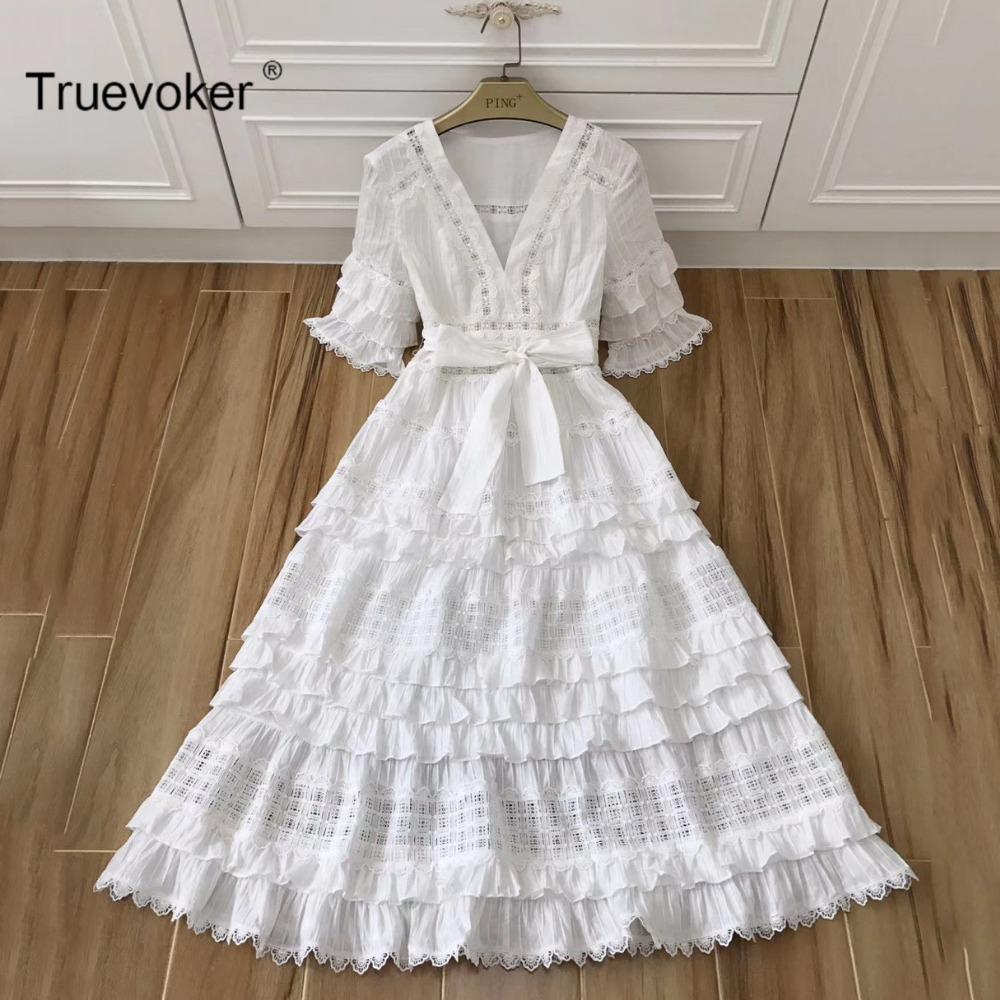 2018 Truevoker Designer Mid Calf Dress Women\'S High End Short Sleeve ...