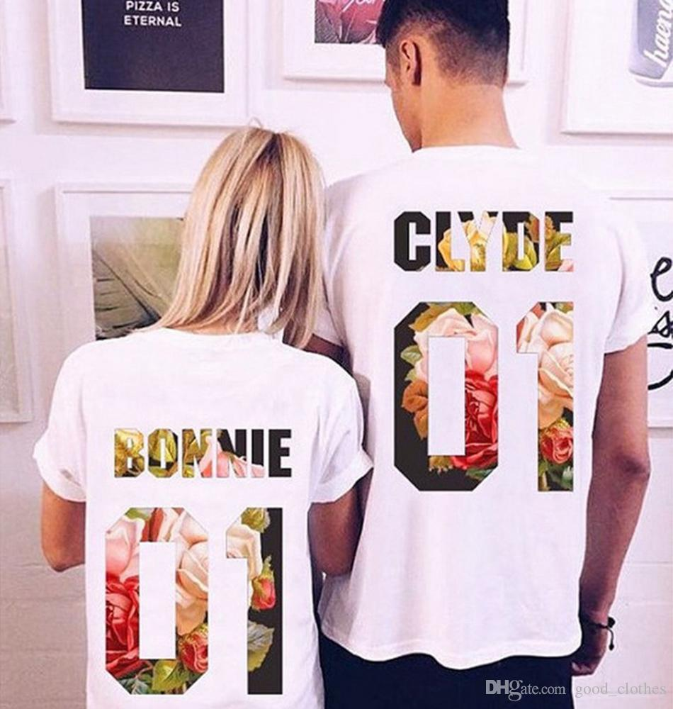 9a87ff8d30e Bonnie Clyde Short Sleeve Couple T Shirts King Queen Couple Matching Shirts  Valentine S Day Love Shirts Tee Tops LJJO4477 Cute T Shirts Nerd T Shirts  From ...