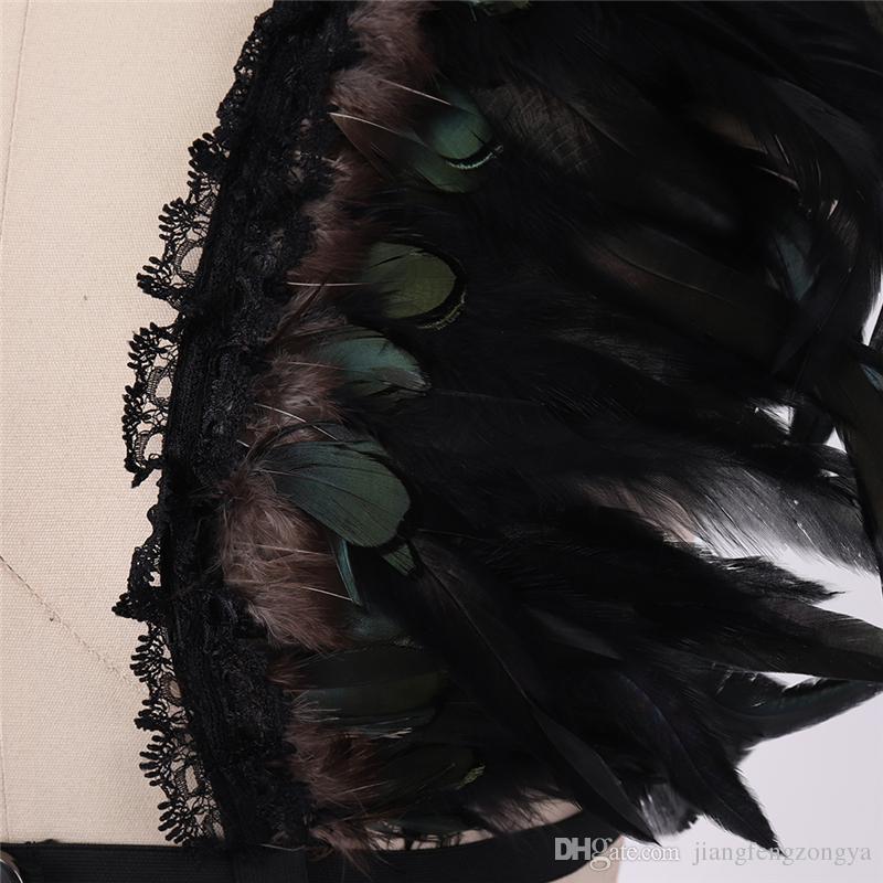 Femmes Mode Sexy Plume bralette Haut, Boho Lingerie, Mad max, Festival, Rave Burning Man Soutien-Gorge, Top cage harnais, de danse costume