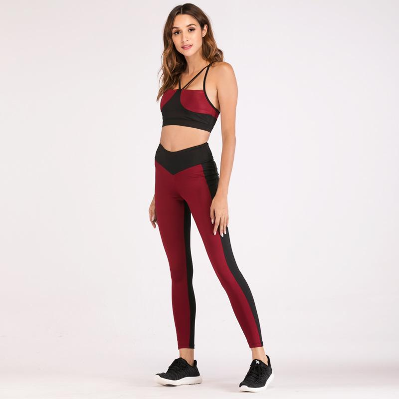 ebc4953e1189c Yoga Fitness Patchwork Leggings Sport Women Bra+Set Workout Set Fashion  Running Clothes Gym Sportswear Suits From Jaokui, $33.7 | DHgate.Com