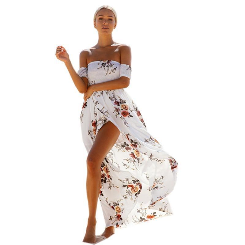 7e204d3aabd Summer Boho Beach Dresses 2019 Women Off Shoulder Floral Print Maxi Dress  Sexy Split Chiffon Sundress Vintage Vestidos De Festa Teen Party Dresses ...