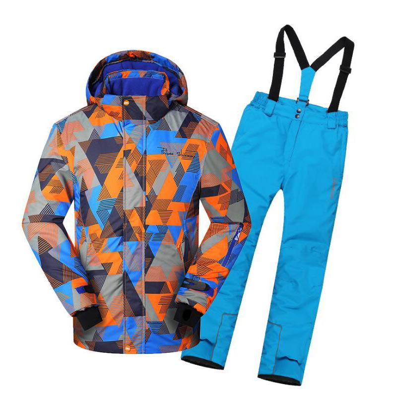 2 Pcs Winter Teenager Outdoor Children Ski Suit Waterproof Ski Jackets + Pants Kids Snow Sets Warm Skiing Suit For Boys Girls