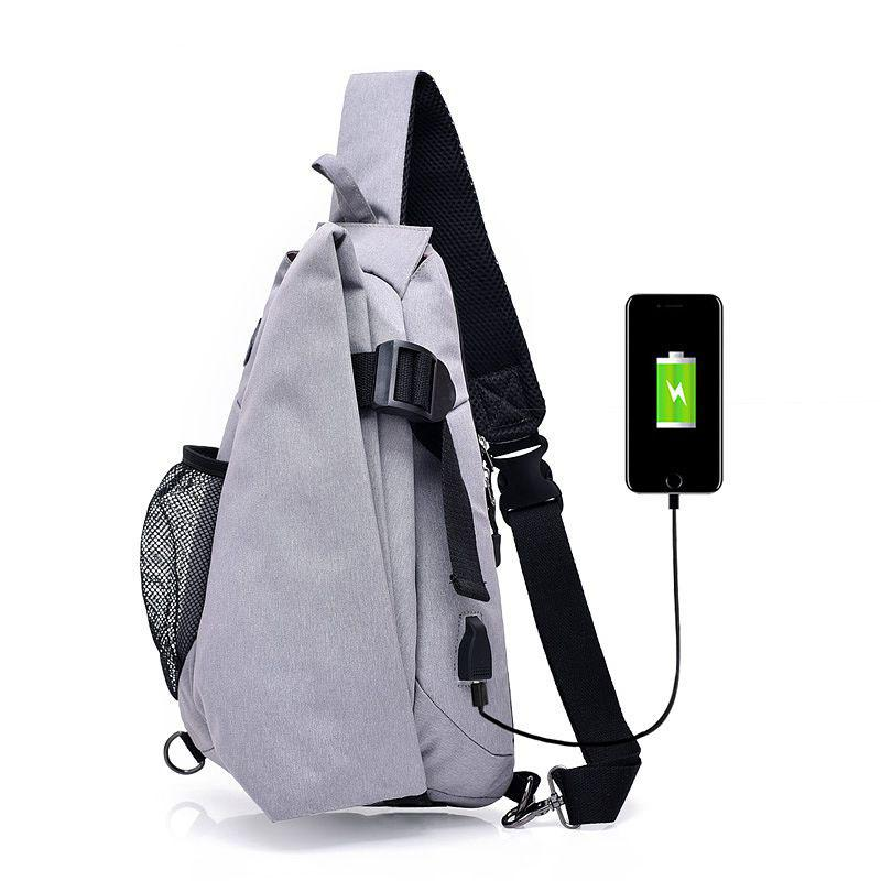 30fc93a6b Men Canvas USB Charging Crossbody Bags Antithef Chest Pack Short Trip Women Messengers  Bag Waterproof Mobile Ipad Shoulder Bag Large Handbags Black Leather ...