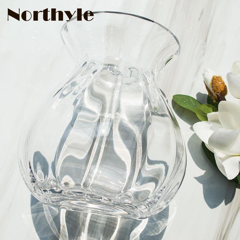 Simple Glass Flower Vase Clear Flower Bottle Home Ornament Glass