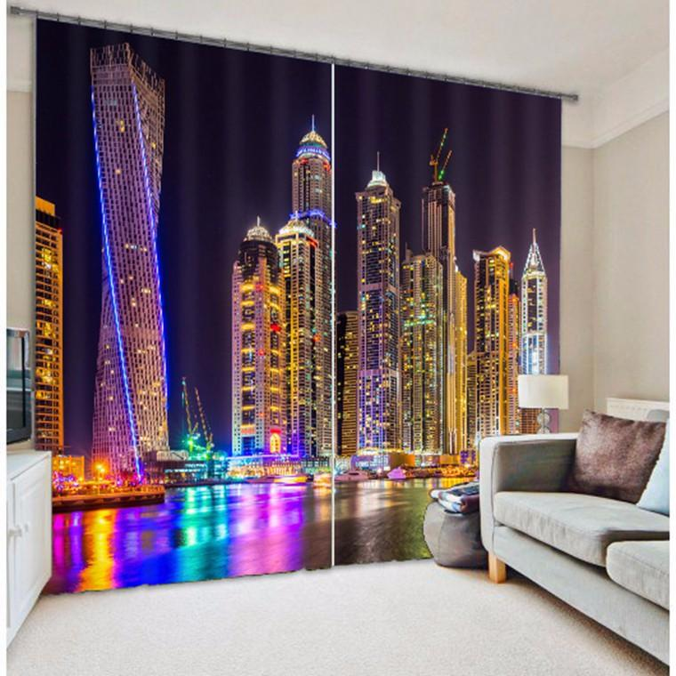 2019 Shade Fabric City Light 3d Photo Printing Blackout Curtains For