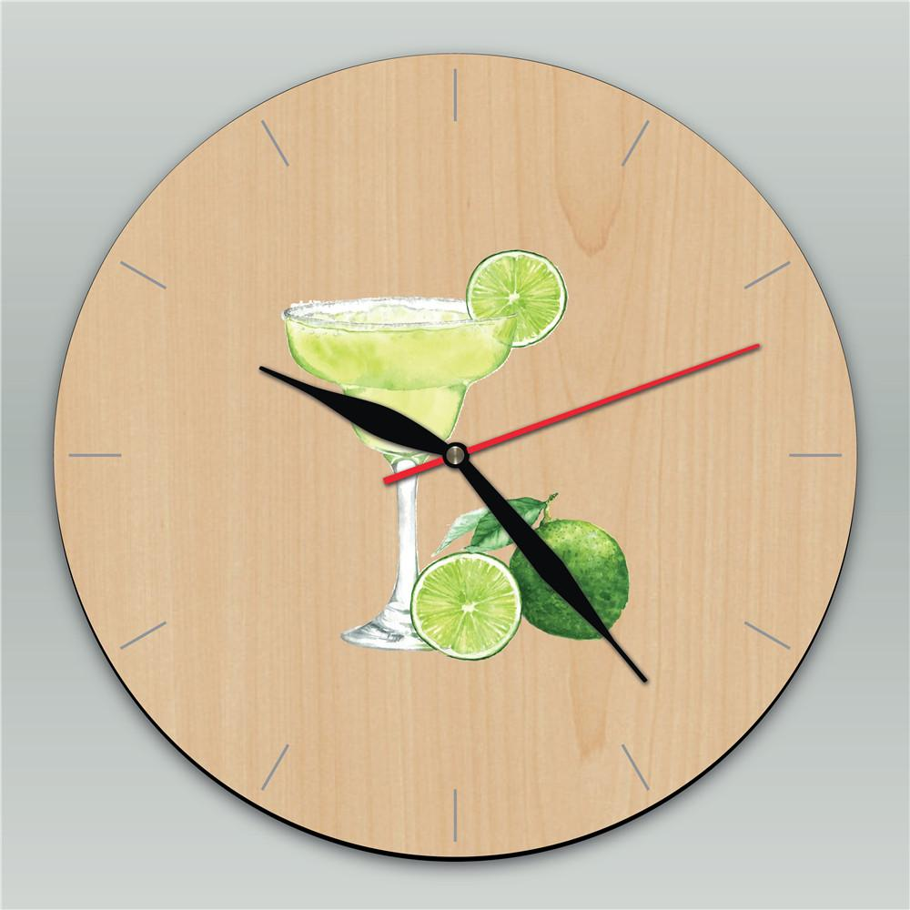 Lemon + Tea Drink Wall Hanging Decor Clock Retro Wooden Wall Clock ...