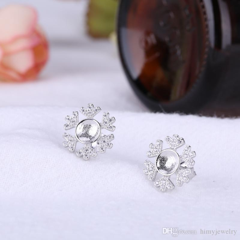 Fine Silver White Gold Color 925 Sterling Silver Stud Earrings Semi Mount Women Earrings for 6mm7mm8mm Pearl or Round Bead Setting DIY Stone