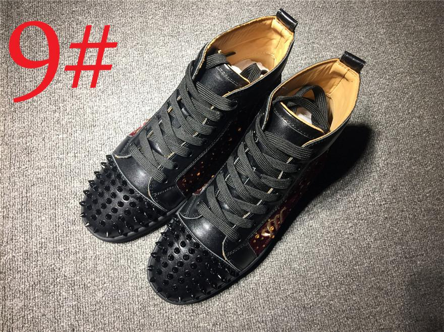 03069a397aa Luxury Brand Red Bottom Vieira Spiked High Top Spikes Red Sole Spike  Slip-On Sneaker Studded Sneakers Trainers Footwear Flat Shoes 00CL18