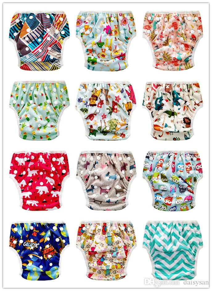Baby Swim Diaper Training Pants Washable Reusable Diapers Cover Animal Pattern Infant Baby Swimming Nappy Changing
