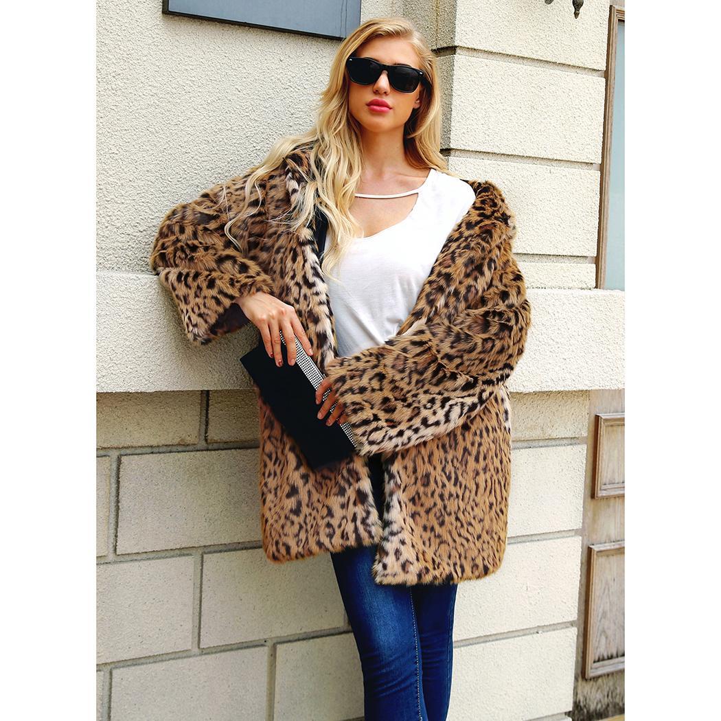 Femmes En Fourrure Nouveau Manteau De Fausse Acheter Mode Léopard nP0wO8k