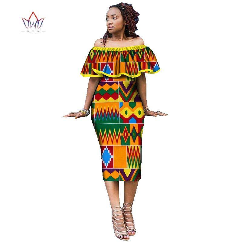 9d8dbaf482 Compre Vestidos Africanos Para As Mulheres Estilo Africano Impressão Plus  Size Festa Ruffled Vestidos Senhoras Sexy Clube Dress Off Deve Wy1868 De ...