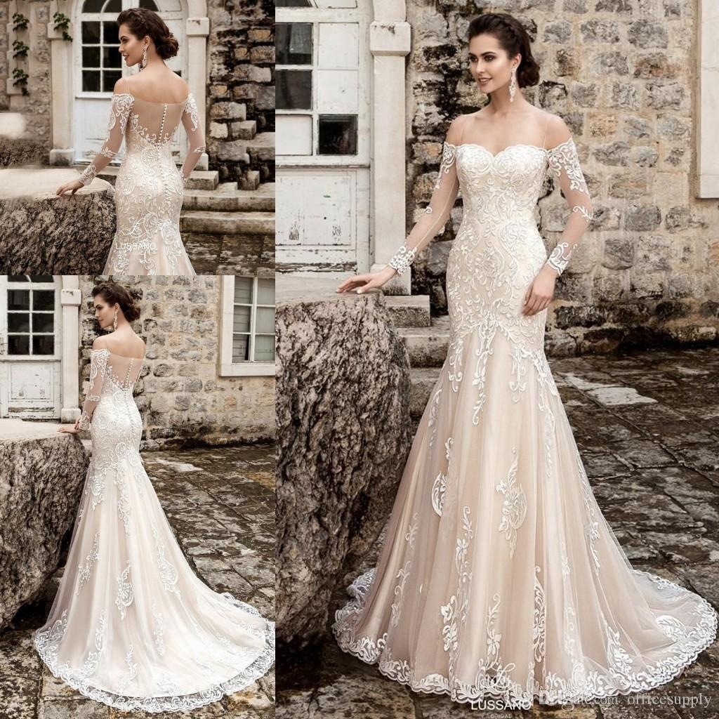 2019 Long Sleeves Mermaid Wedding Dress Sweetheart Court