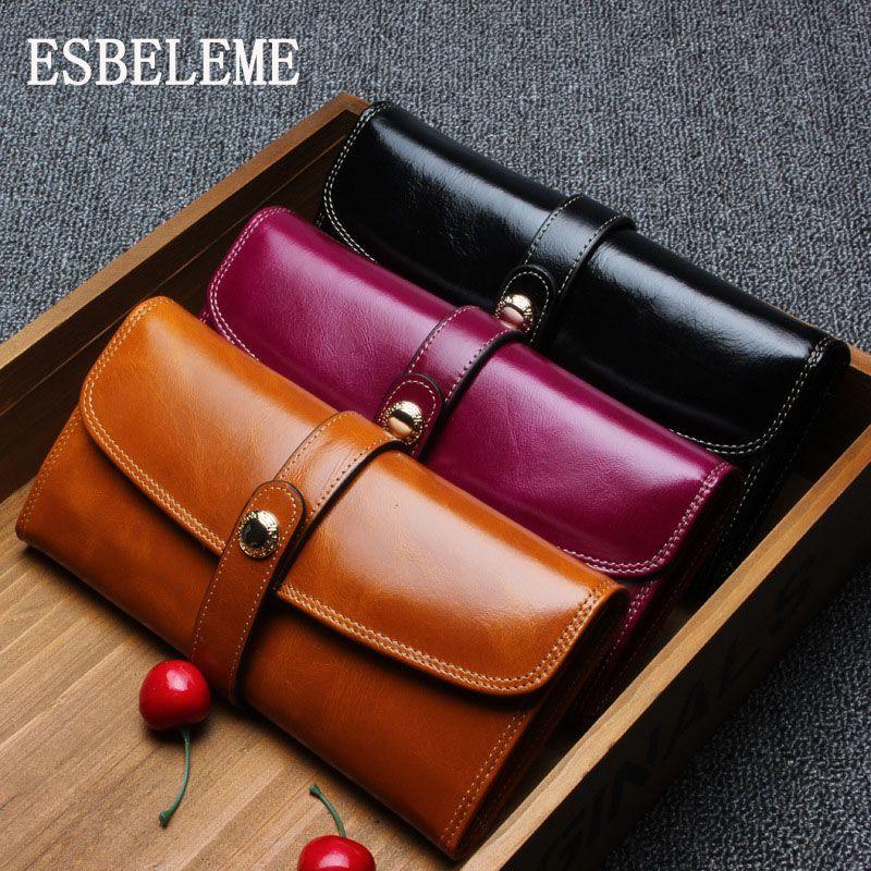 651c9e0863c5 Famous Brand 2018 Oil Wax Women Large Wallet Top Grade Genuine Leather  Elegant Designer For Ladies Long Purse Female Burse YG085 Rodeo Wallets  Wallet ...