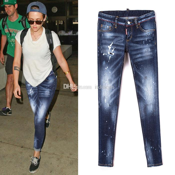 89add491 2019 Sexy Women Jeans Skinny Fit Distressed Paint Fitting Hip Whisker Effect  Fading Vintage Cool Girl From Itdesign, $39.2   DHgate.Com
