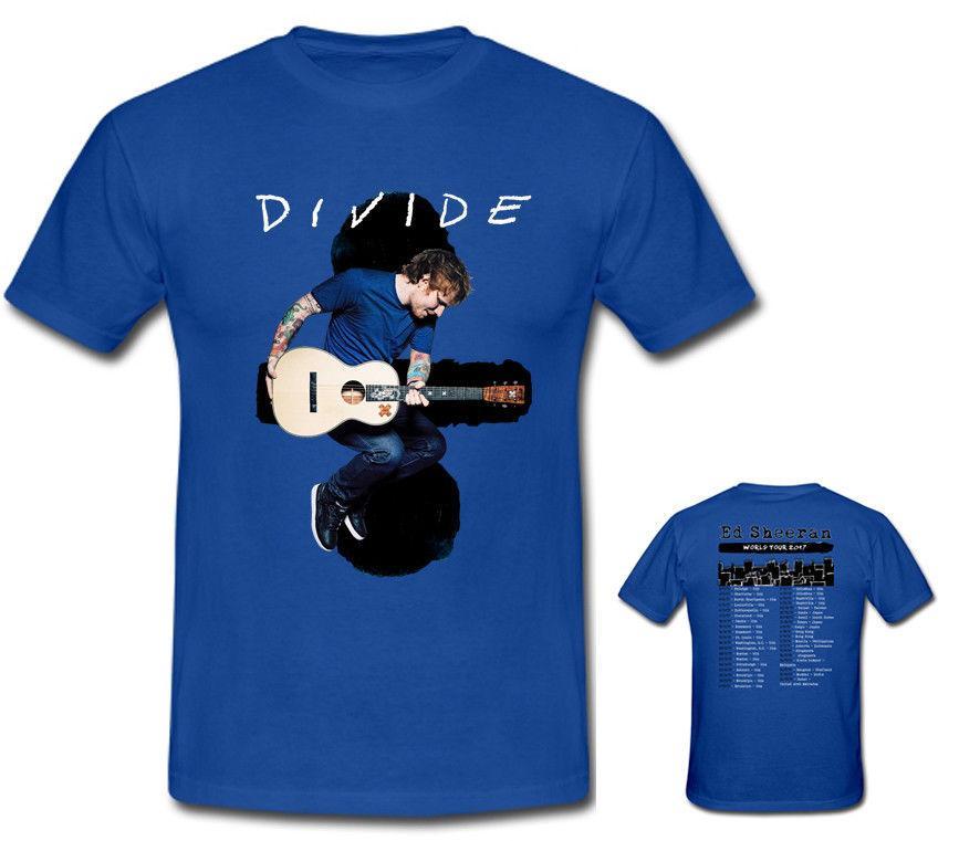 fc2b5553ee New Ed Sheeran Divide Tour Live Concert 2017 Men's Blue T Shirt Size S - To  - Xxxl Hip - Hop Simple Splicing T Shirt White