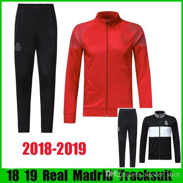 18 19 Chándal De Futbol Real Madrid 2018 2019 Nuevo Estilo MODIC ISCO  Uniformes Rojos Chaquetas Y Pantalones Negros Trajes De Entrenamiento  Futbol Conjunto ... f66e25009cd21