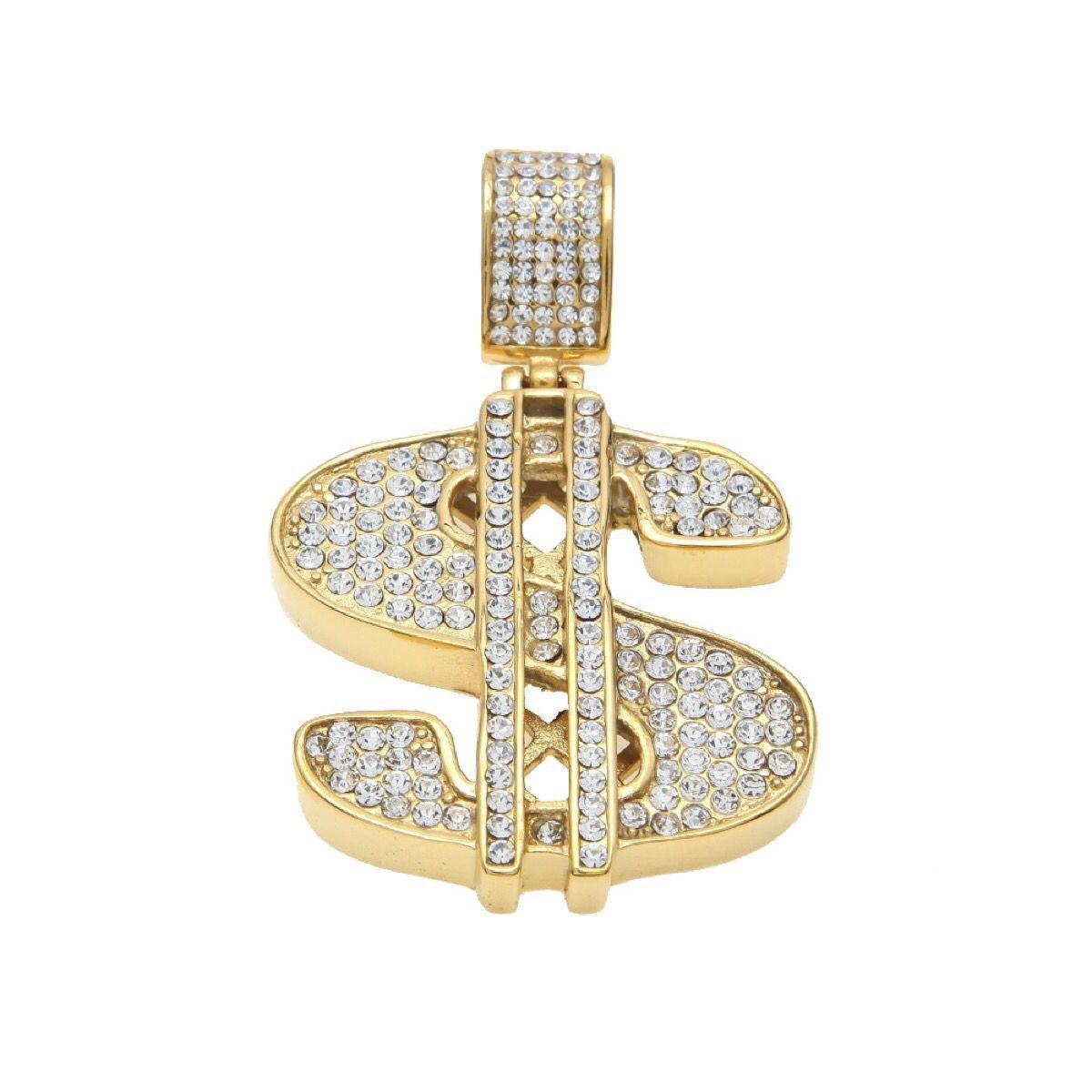 Gold Color $ Money Symbol Pendant Hip Hop Bling Crystal Dollar Sign 76cm Gold Link Chain Pendant Necklace Men Women Jewelry