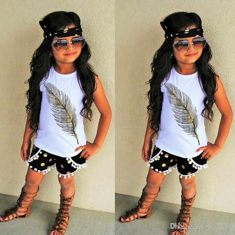 Cute Baby Girl Clothes Set 2018 Summer Toddler Kids Sleeveless Tops+Shorts Headband Children Outfit Clothes Girls Clothing Set 0-4T