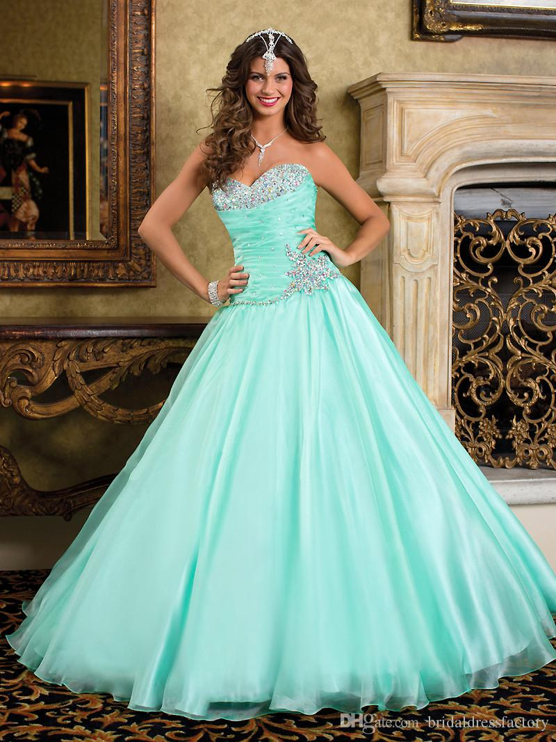 vestido de debutante Beaded Turquoise Quinceanera Dresses Princess Masquerade Ball Gowns Sweet 16 Dress
