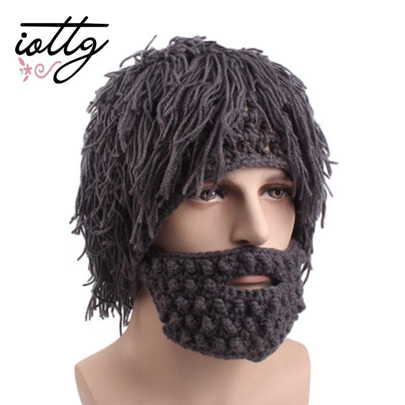 1fdb7d0be8d 2019 IOTTG Funny Party Beanies Wig Beard Hats Hobo Mad Scientist Caveman  Handmade Knit Warm Winter Caps Men Women Halloween Gifts From Annuum