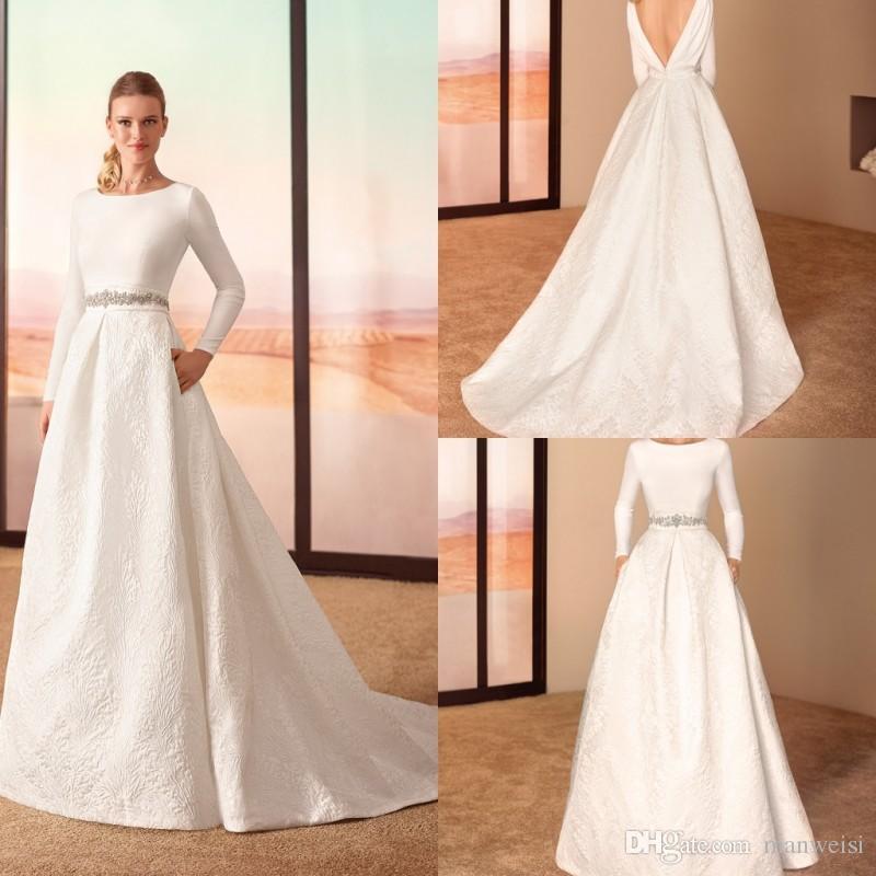 Discount Cabotine 2019 Matte Satin Backless Wedding Dresses Crystal
