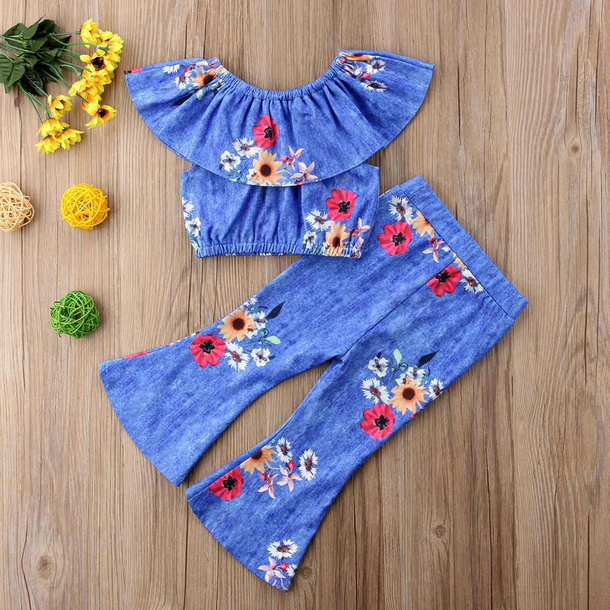 96c1309f96ec Girls  Sunflower Cloth Set Girls  Short Top And Flare Pants Two ...