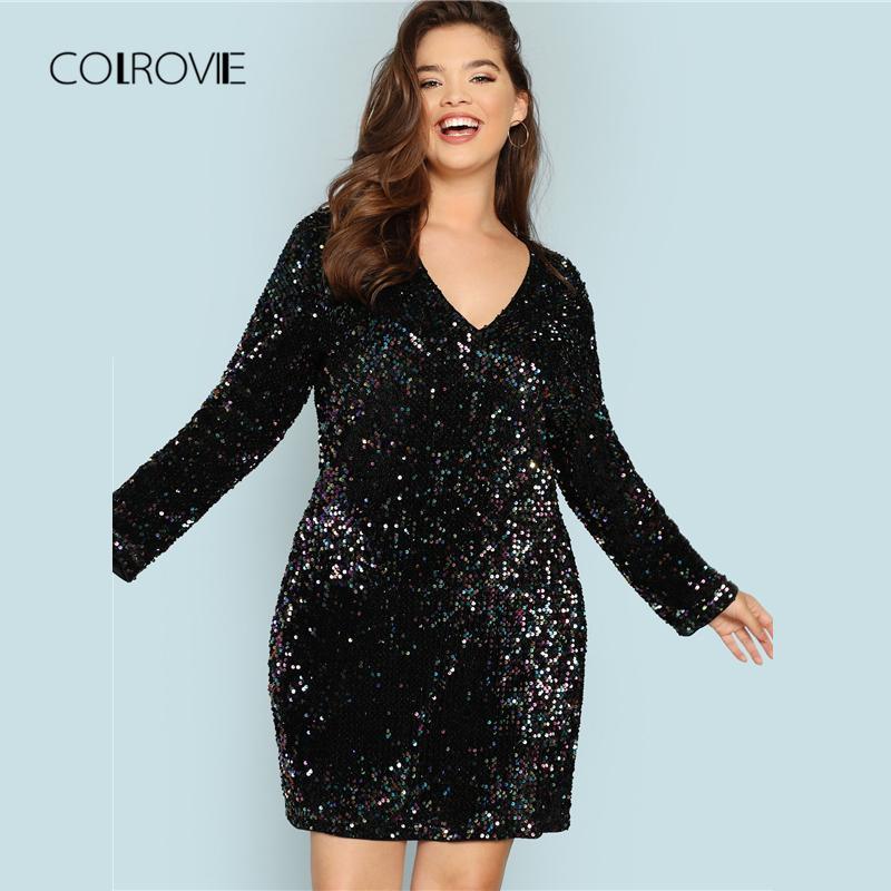 Acquista COLROVIE Plus Size Nero Con Scollo A V Paillettes Ragazze Sexy  Dress Donna 2018 Autunno Manica Lunga Party Dress Eleganti Mini Abiti Da  Sera A ... 4fe62d10195